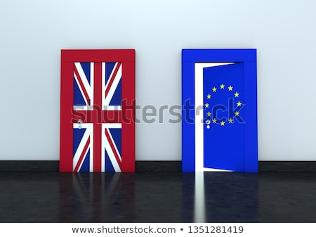 flag EU and  Great Britain on wall and door. 3D image Stock photo © ISerg