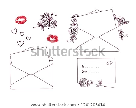 Open letter with roses and hearts. Postal holiday outline doodle graphic design Stock photo © ESSL
