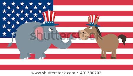 Сток-фото: Angry Political Elephant Republican Vs Donkey Democrat Over Usa Flag