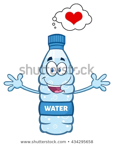 cartoon illustatio of a water plastic bottle mascot character thinking of love and wanting a hug stock photo © hittoon