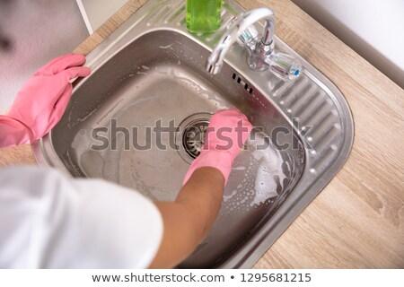 Személy mosás mosogató kilátás személyek kezek Stock fotó © AndreyPopov