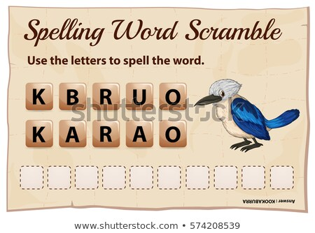 Stock photo: Spelling word scramble for word kookabura