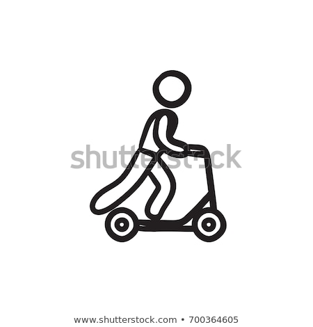 Foto stock: Menino · equitação · chutá · esboço