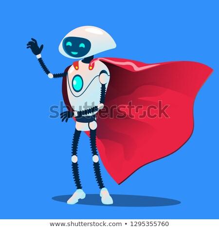 Robot visel piros szuperhős köpeny vektor Stock fotó © pikepicture