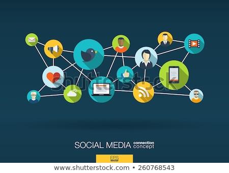 kéz · közösségi · háló · iskolatábla · mutat · társasági · hálózatok - stock fotó © ivelin