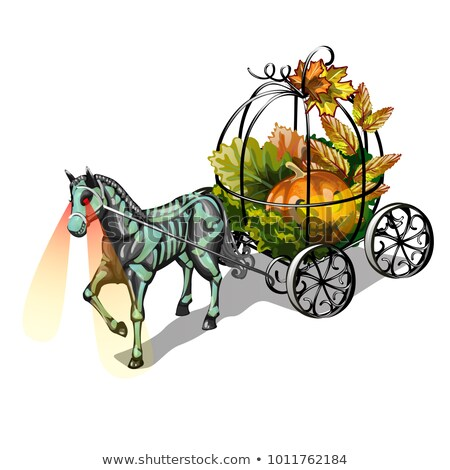 festive decoration for halloween isolated on white background the horse with glowing eyes and a for stock photo © lady-luck