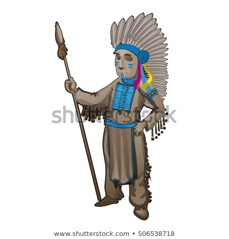 The statuette of the leader of a tribe of Indians isolated on white background. Cartoon vector close Stock photo © Lady-Luck