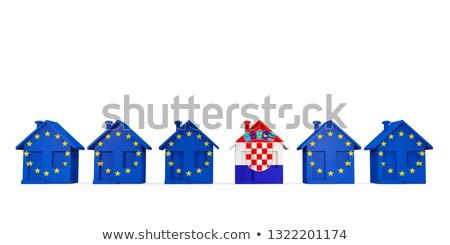 house with flag of croatia in a row of eu flags stock photo © mikhailmishchenko