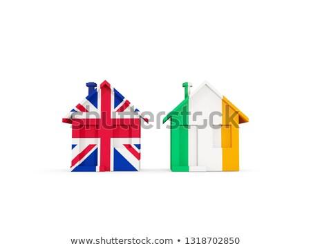 Dois casas bandeiras Reino Unido Irlanda isolado Foto stock © MikhailMishchenko