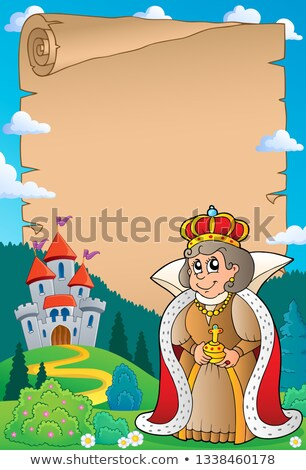 parchment with queen near castle 4 stock photo © clairev