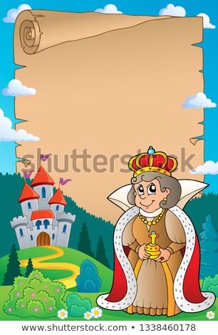 пергаменте королева замок бумаги архитектура одежды Сток-фото © clairev