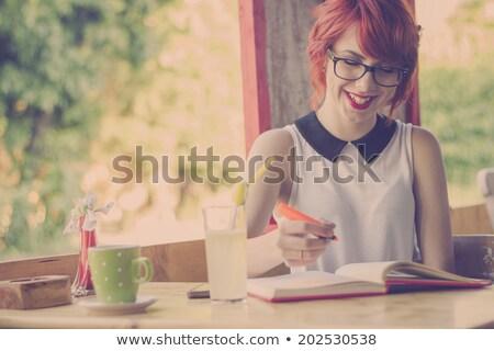 tinilány · tanul · asztal · lány · gyerekek · könyv - stock fotó © deandrobot