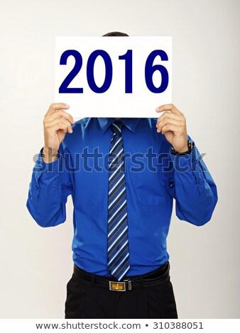 Fiatal fickó tart felirat legelső kék Stock fotó © feedough
