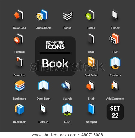 e education color outline isometric icons set stock photo © netkov1