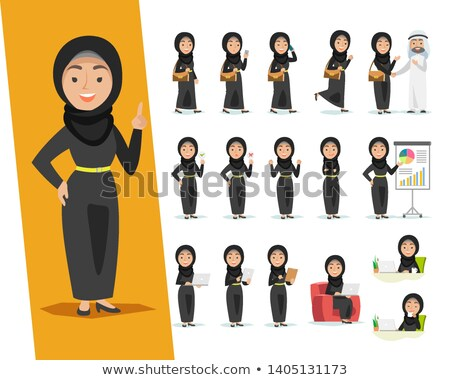 Stok fotoğraf: Arab Woman Talking On The Phone Vector Flat Isolated On White