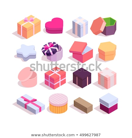 Set of opened heart shape gifts box. Valentines Day Collection box design. Vector illustration Stock photo © olehsvetiukha