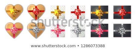 Giftbox set Vector realistic. Product placement mock up. Golden, stock photo © frimufilms