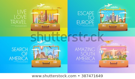 travel to the usa   colorful flat design style illustration stock photo © decorwithme
