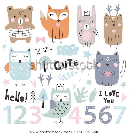 fifth birthday cartoon greeting card design Stock photo © izakowski