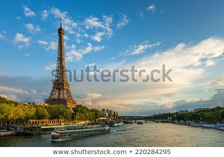 Eiffel turné folyó Eiffel-torony zöld fa Párizs Stock fotó © neirfy