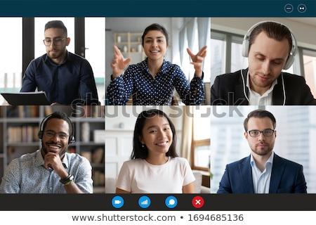 On-line pessoas de negócios trabalhando pc informática vetor Foto stock © robuart