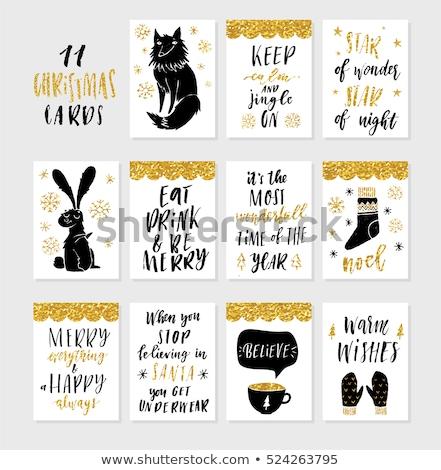 Vrolijk christmas briefkaart warm wensen bunny Stockfoto © robuart
