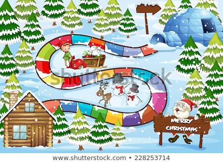 Natale bambini capanna illustrazione bambino panorama Foto d'archivio © colematt