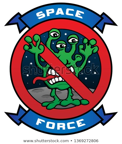 Funny Space Force Alien Cartoon Vector Illustration Stock photo © jeff_hobrath