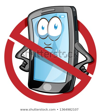 mobile cell phone in cartoon vector style inside red banned icon stock photo © doomko