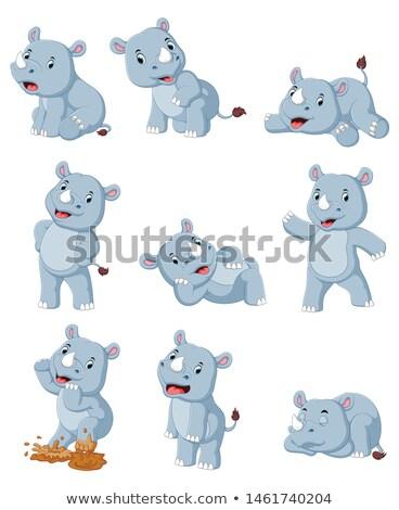 Conjunto rinoceronte ilustração natureza fundo Foto stock © bluering