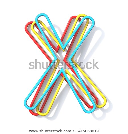 Three basic color wire font Letter X 3D Stock photo © djmilic