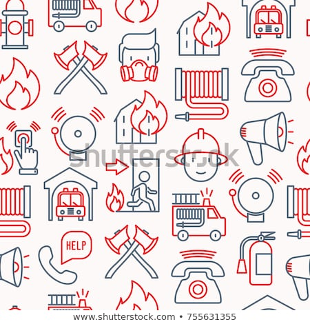 Set icons of firefighting equipment pattern Stock photo © netkov1