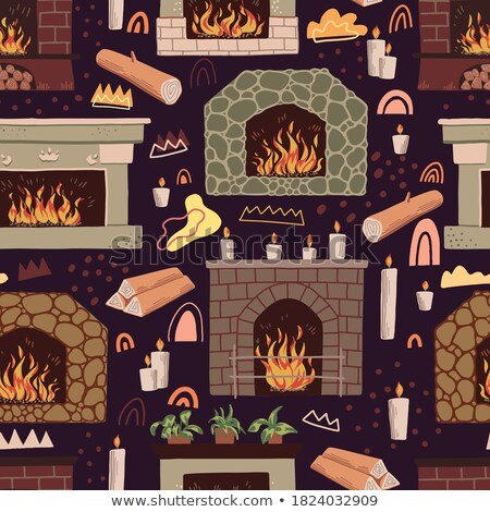 Flat with Blue Wallpaper and Fireplace Vector Stock photo © robuart