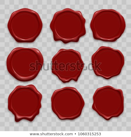 Stock photo: vector red wax seal stamps set