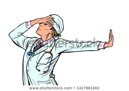 Médico homem medicina vergonha negação gesto Foto stock © studiostoks