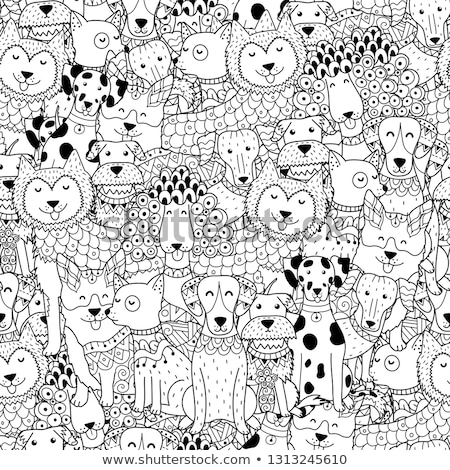 seamless pattern with doodle dog paws black color animal print vector background stock photo © lemony