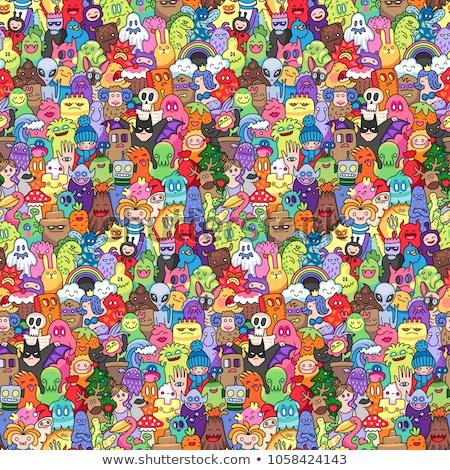 Bonitinho kawaii estilo rabisco criaturas feliz Foto stock © zsooofija