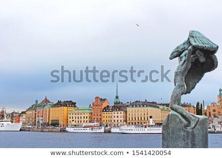 Barco escultura Estocolmo arco-íris novo estrelas Foto stock © borisb17