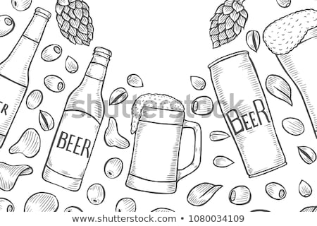 Color Hand Drawn Glass With Foam Bubble Beer Vector stock photo © pikepicture