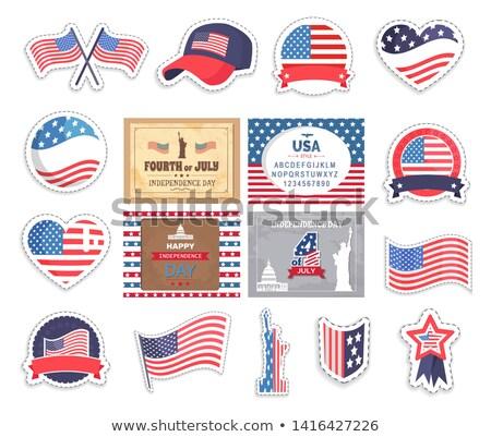 Bandeira EUA velho glória adesivos conjunto Foto stock © robuart