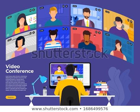video · riunione · online · vettore · donna · chat - foto d'archivio © robuart