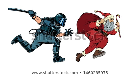 Santa Claus Christmas. riot police with a baton. discrimination against Christians Stock photo © studiostoks