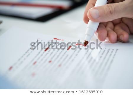 красный карандашом ошибка текста бумаги Сток-фото © AndreyPopov