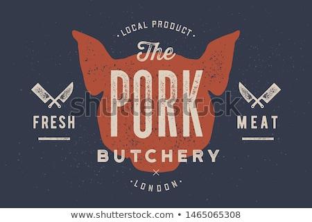 свинья свинина Vintage типографики ретро печать Сток-фото © FoxysGraphic