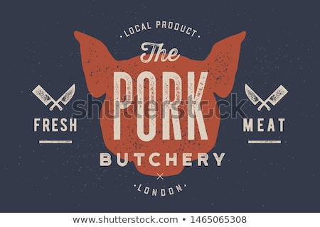 Porco carne de porco vintage tipografia retro imprimir Foto stock © FoxysGraphic