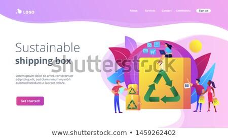 Laag verpakking landing pagina milieuvriendelijk recycleerbaar Stockfoto © RAStudio