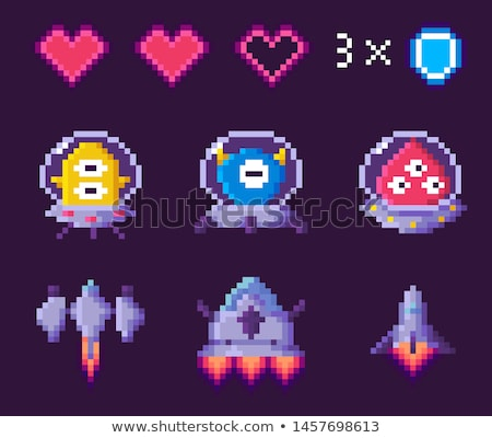 Pixel Game, Award Symbols, Power Object Vector Stock photo © robuart