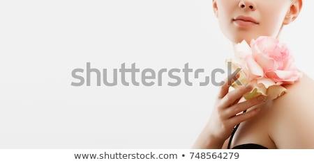 divat · portré · fiatal · nő · tart · virágok - stock fotó © serdechny