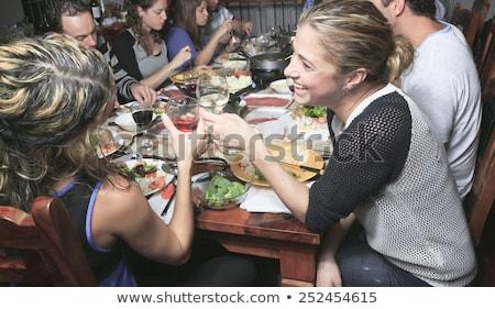 mujer · vino · tinto · queso · rubio · mujer · bonita · placa - foto stock © lopolo