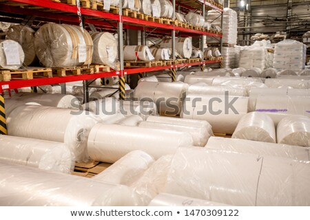 Rolled, packed and wrapped large bobbins of newly produced polyethylene film Stock photo © pressmaster